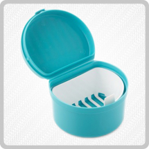 Plastic Denture Cup With Hinged Lid
