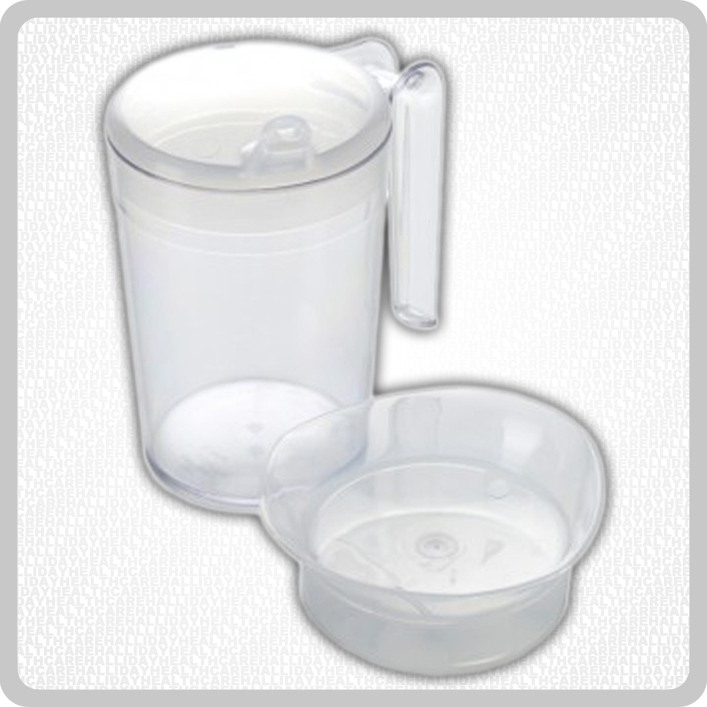 Plastic Beaker Set Feeder/Drinking Cup With 2 Lids - 300ml
