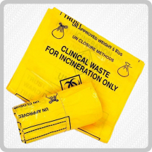 Yellow Clinical Waste Bags - 4x50