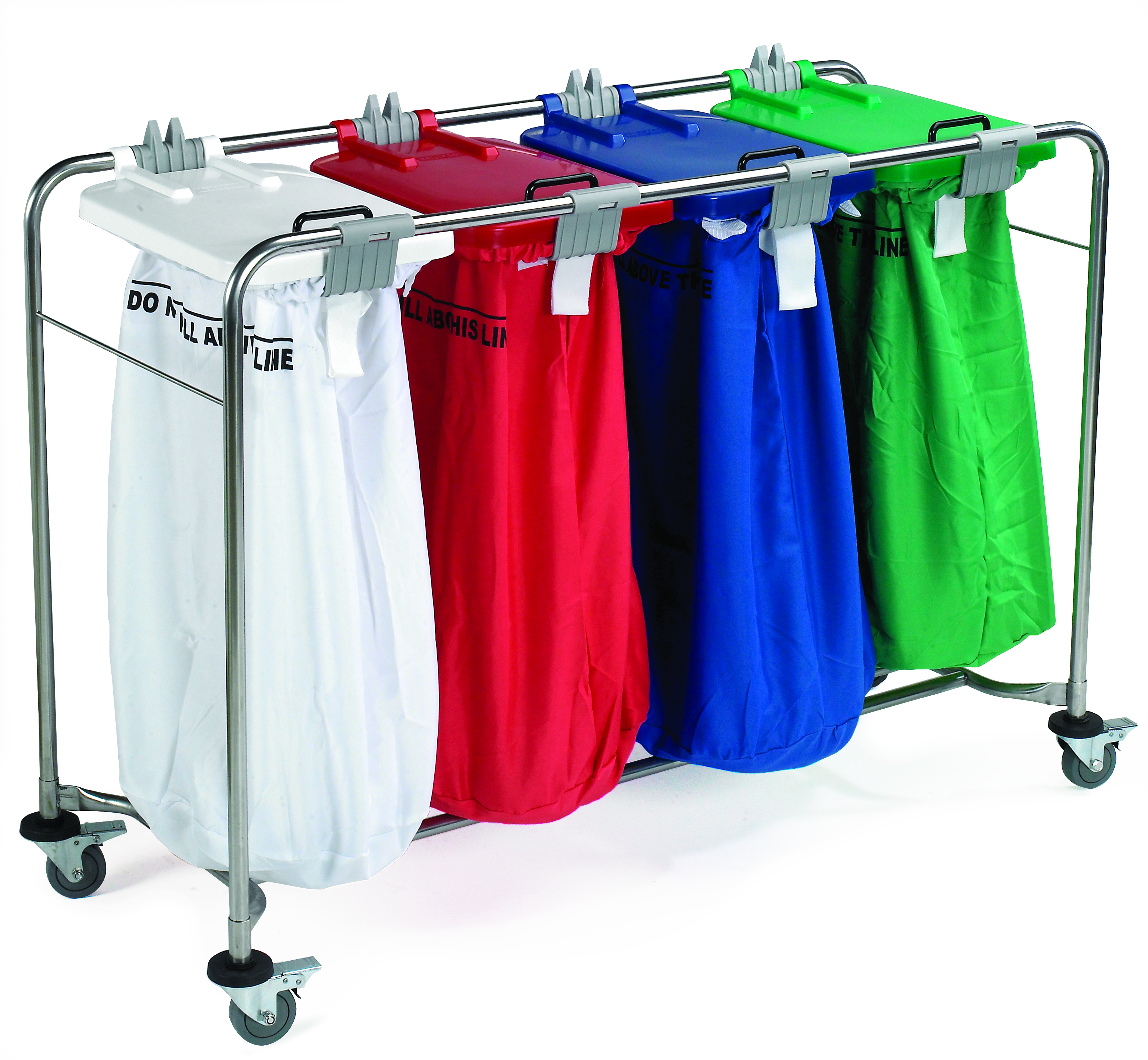 Medi-Cart 4 Bag Laundry Trolley with White, Red, Blue & Green Lid