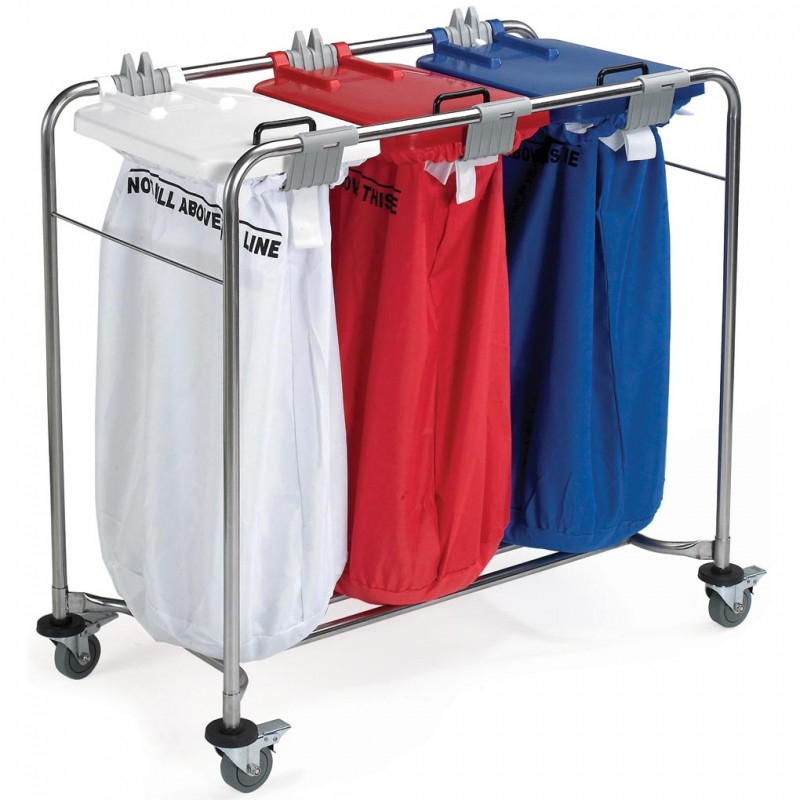 Medi-Cart 3 Bag Laundry Trolley with White, Red & Blue Lid