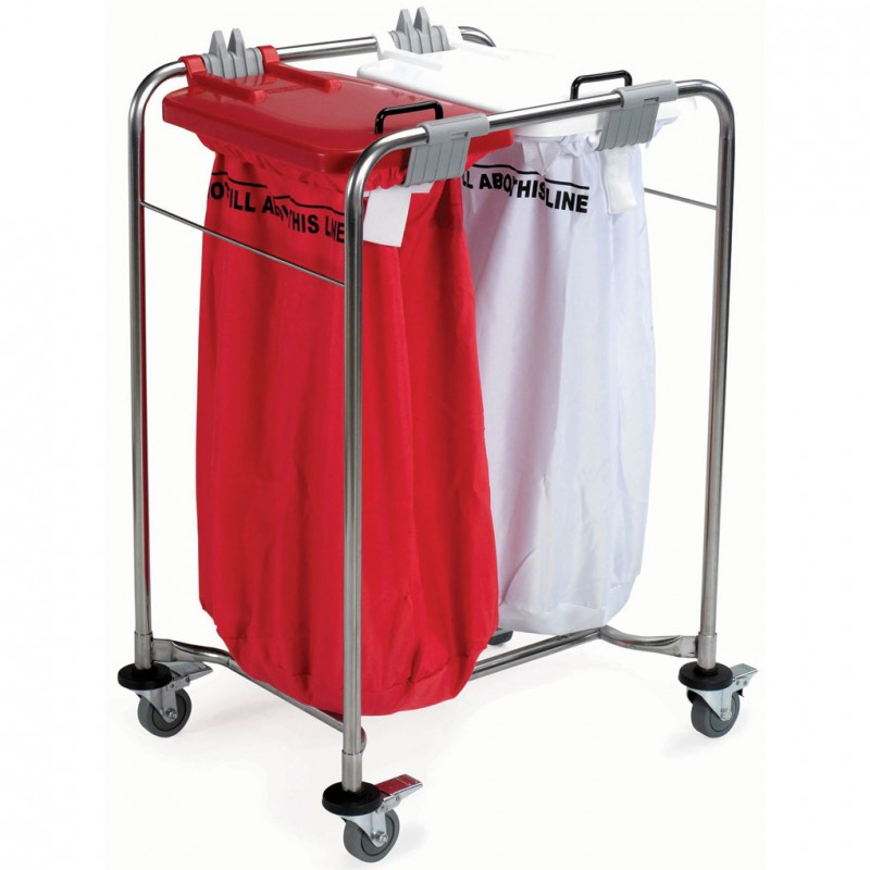Medi-Cart 2 Bag Laundry Trolley with White & Red Lid