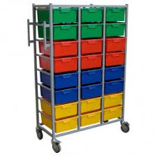 Karri-Cart Triple 24 Trays with Hanging Rail
